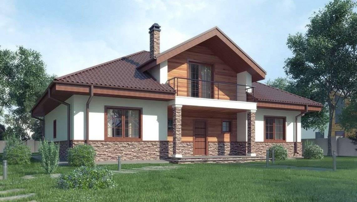 Проект классического 1,5-этажного дома с красивыми окнами
