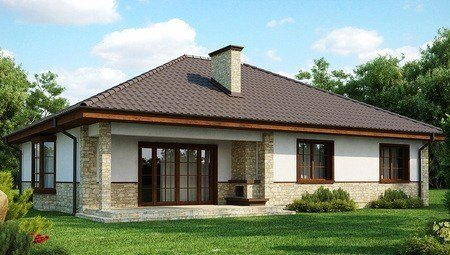 Каркасный вариант популярного проекта одноэтажного дома