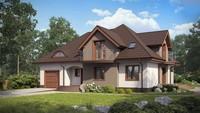 Проект классического просторного дома с гаражом и балконами