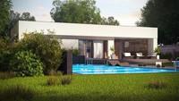 Проект одноэтажного дома хай-тек с бассейном и оригинальным гаражом