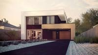 Проект современного двухэтажного дома с встроенным гаражом