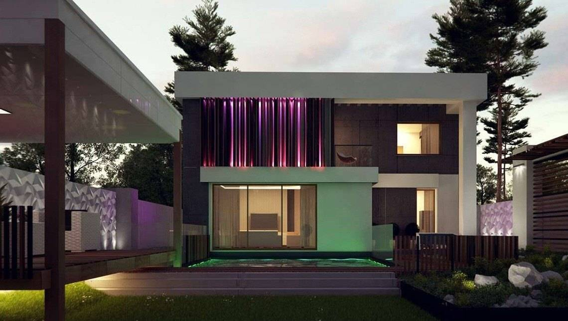Проект красивого двухэтажного дома с плоской крышей