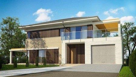 Красивый светлый двухэтажный дом с большой террасой на втором этаже