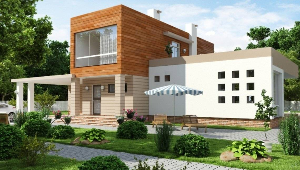 Проект современного коттеджа с большими террасами