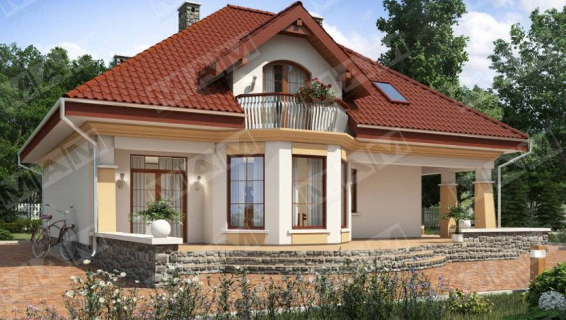 Проект загородного дома с просторной террасой