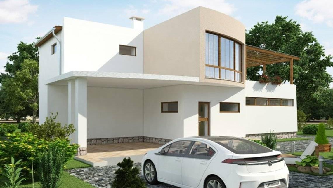 Проект современного коттеджа с 3-мя спальнями на втором этаже и огромной террасой