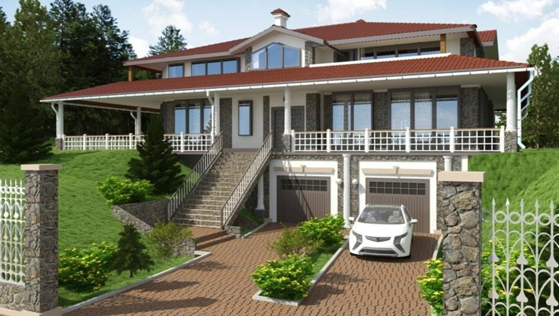 Огромный загородный коттедж в американском стиле с гаражом в цокольном этаже