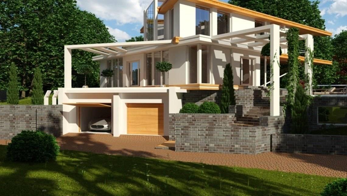Оригинальный проект особняка в стиле хай-тек с гаражом