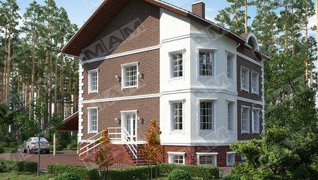 Трёхэтажный загородный коттедж из кирпича с беседкой
