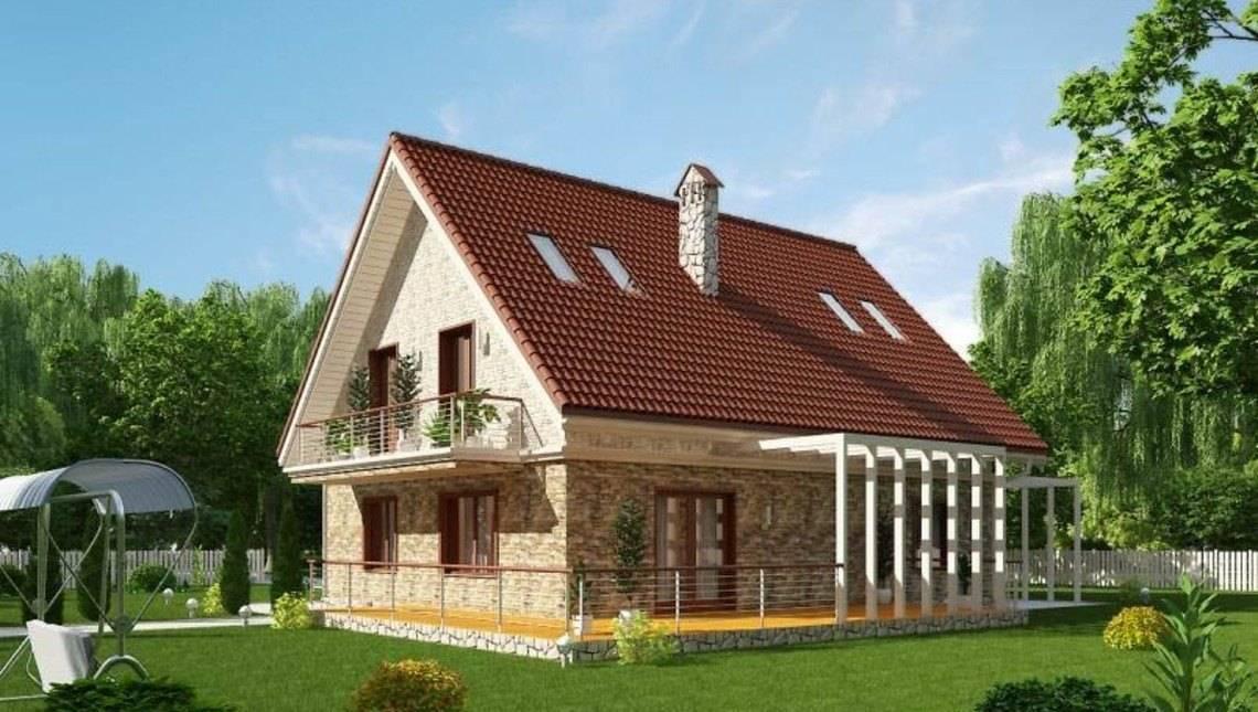 Симпатичный коттедж с мансардой и просторной террасой
