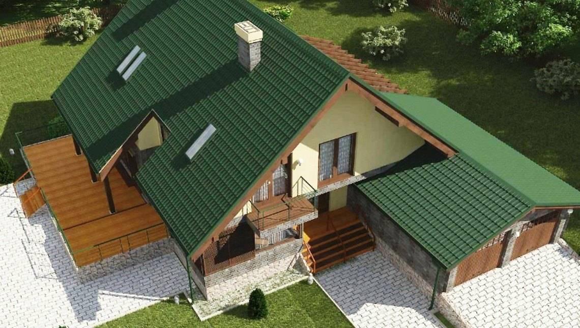 Дом с мансардой с зимним садом