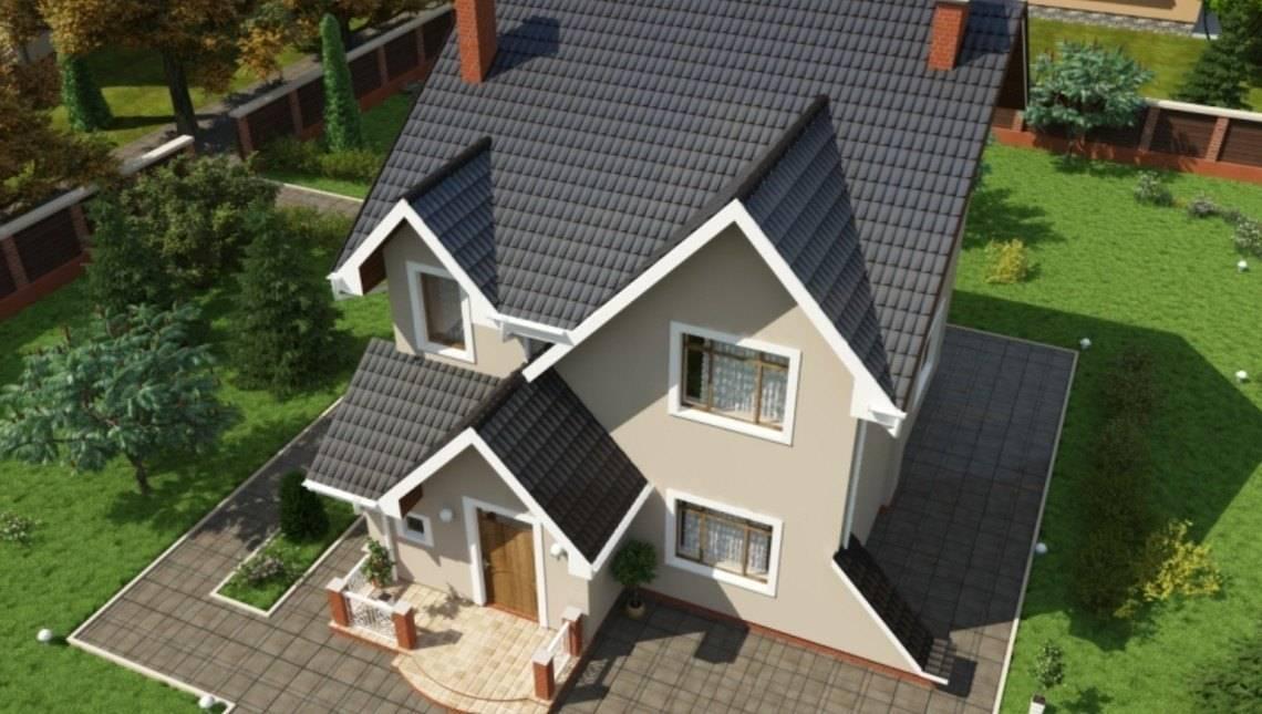Проект двухэтажного коттеджа с необычной крышей
