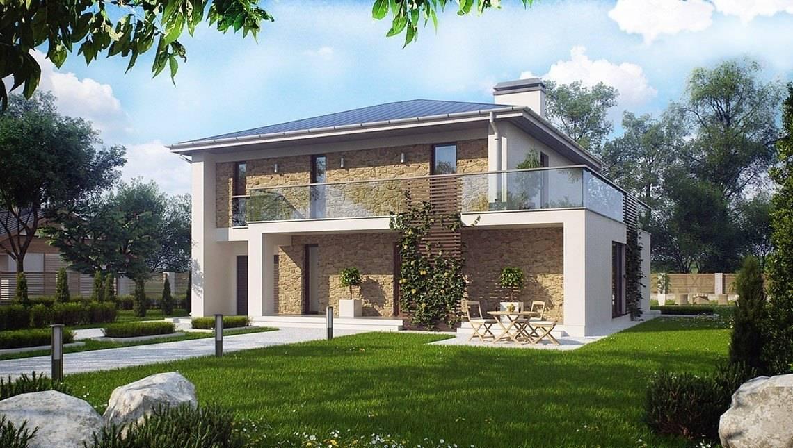 Проект двухэтажного загородного дома с большими окнами