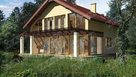 Проект загородного коттеджа с большой светлой террасой