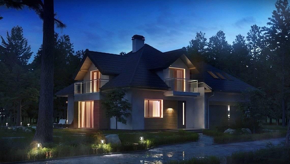 Проект красивого дома с оригинальными окнами и гаражом для 2 машин