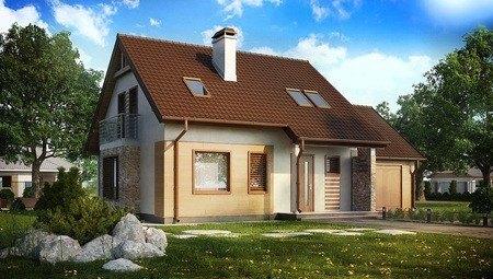 Проект аккуратного жилого одноэтажного дома с мансардой и гаражом для автомобиля