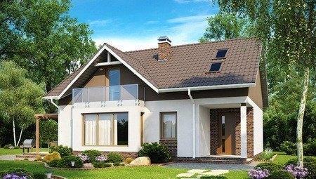 Каркасный проект одноэтажного дома со стеклянным балконом в мансарде