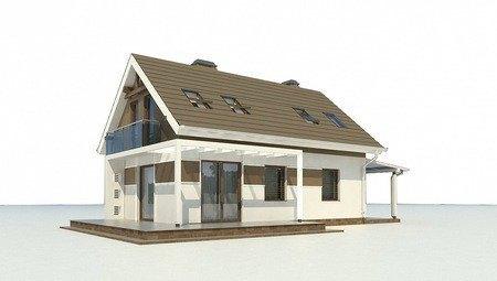 Проект маленького аккуратного загородного коттеджа с мансардой
