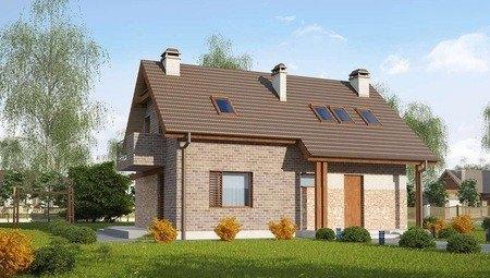 Проект загородного коттеджа по типу 4M218 с кирпичным фасадом