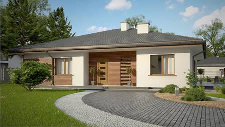 Одноэтажный дом с шикарной террасой и четырехскатной крышей