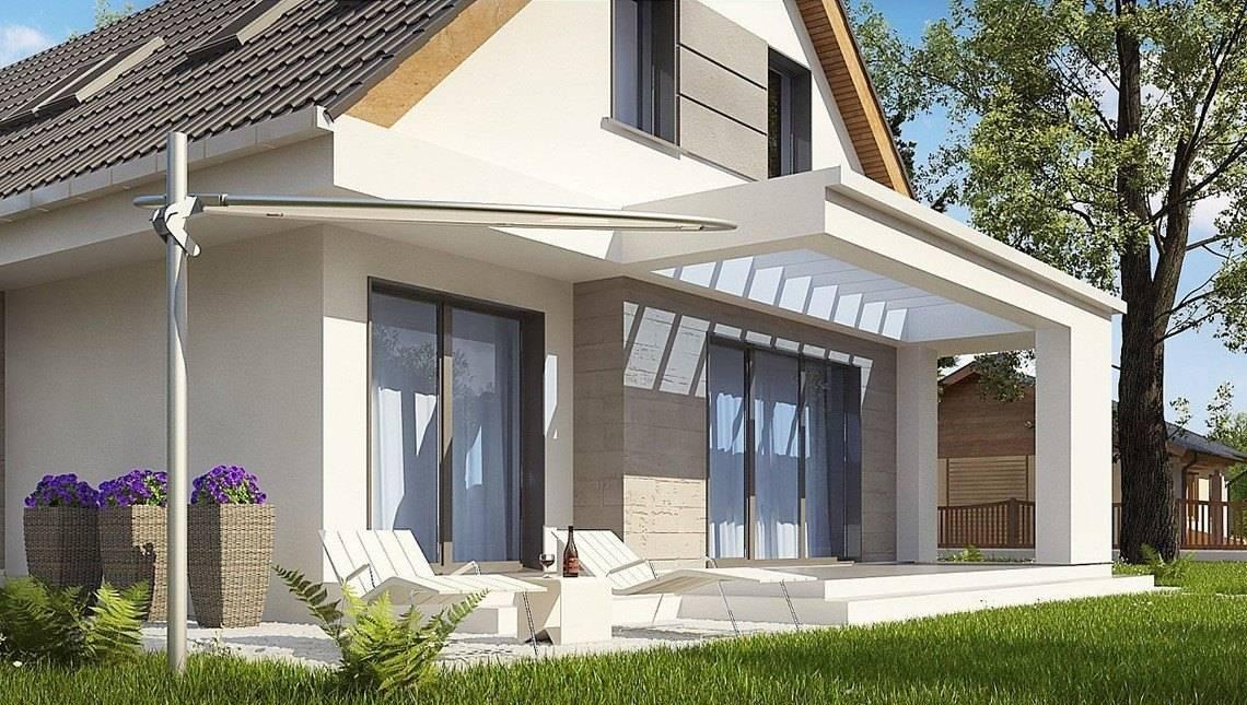 Современный проект дома хайтек с мансардой для узкого участка