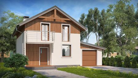 Версия проекта дома 4M406 с гаражом для 1-ой машины