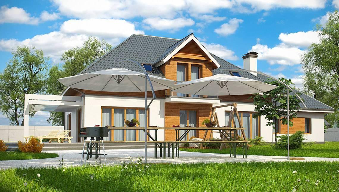 Проект комфортного особняка с мансардой видовым балконом