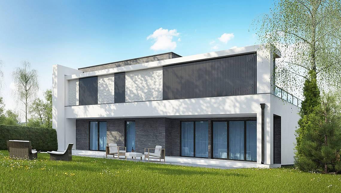 Современный стильный дом для двух семей с комфортабельными террасами