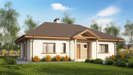 Одноэтажный дом с колоннами по версии 4M512 без встроенного гаража