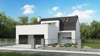 Проект современного таунхауса с гаражами на 2 автомобиля