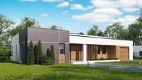 Проект дома хай-тек по типу 4M590 с гаражом для 1-ой машины
