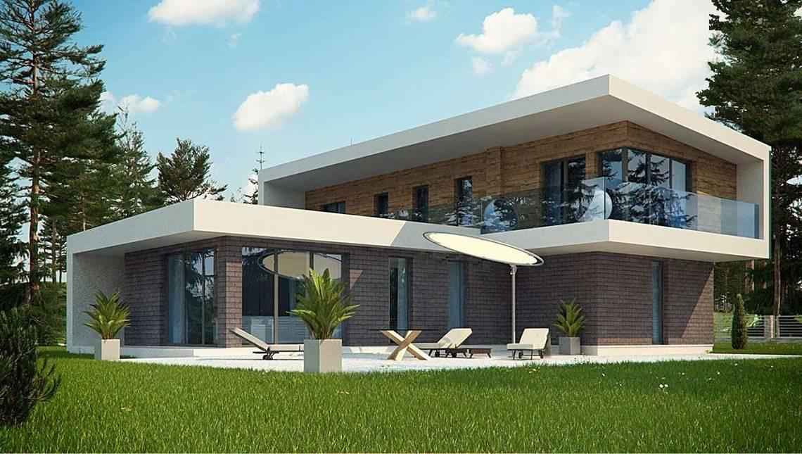 Оригинальный дом Т-образной формы с современным внешним видом