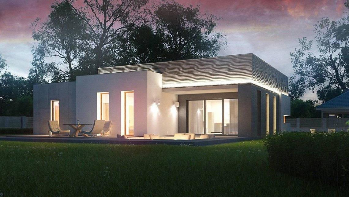 Одноэтажный дом в стиле хай тек с местом для костра на террасе