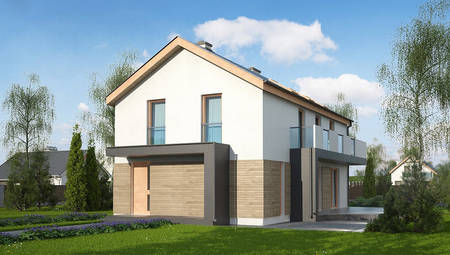 Проект двухэтажного дома для узкого участка по типу 4M692 без гаража