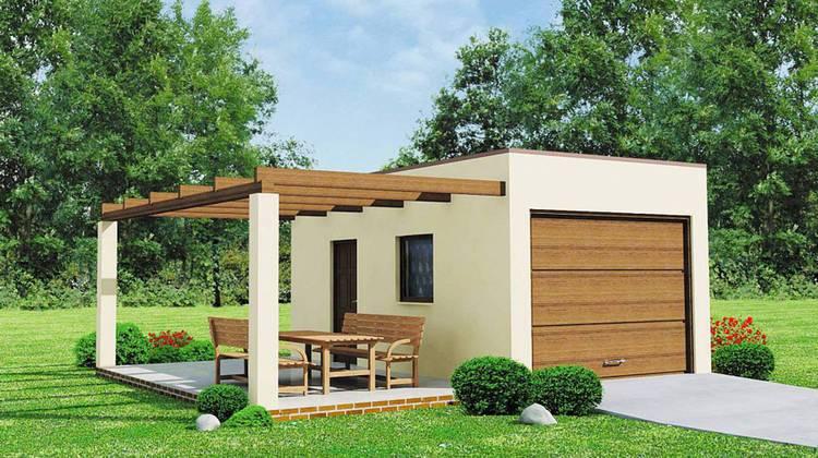 Проект одноэтажного классического гаража на одну машину с уютной террасой