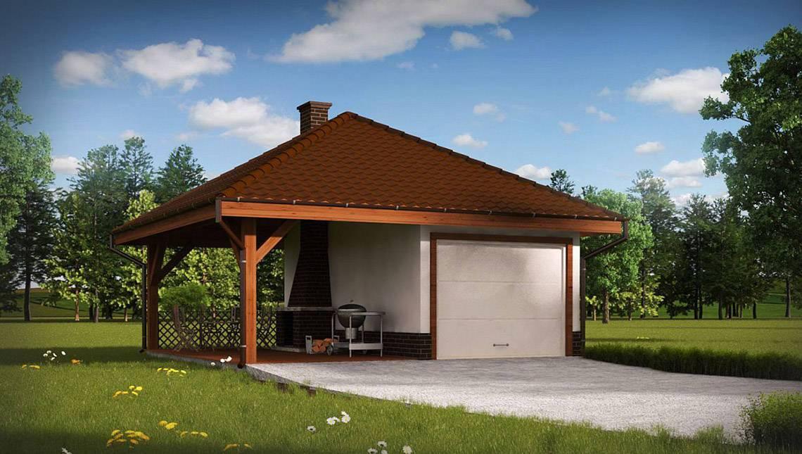 Симпатичный проект гаража с зоной барбекю