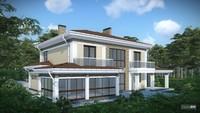 Проект удобного загородного коттеджа с гаражом для 2 семей