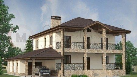 Респектабельный особняк с крытой террасой и цокольным этажом