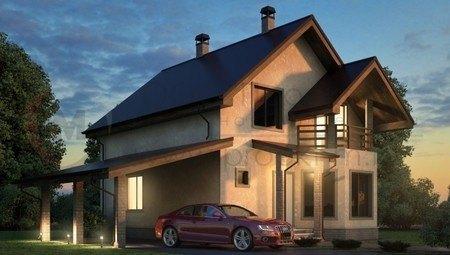 Дом с мансардой и навесом для авто