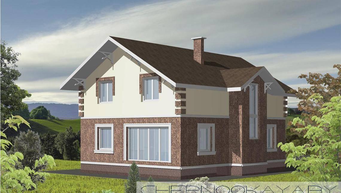 Проект небольшого 2х этажного коттеджа с оригинальным фасадом