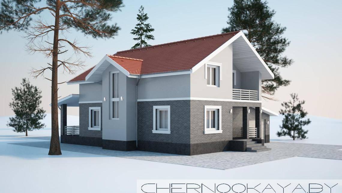 Проект красивого аккуратного двухэтажного коттеджа площадью 200 m²