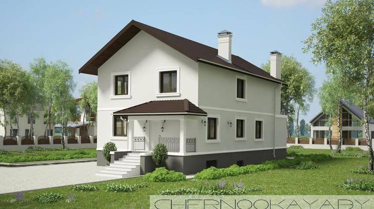 Проект двухэтажного стильного коттеджа со всеми удобствами