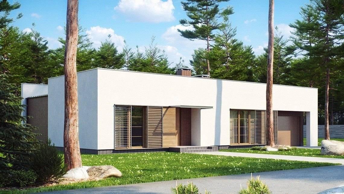 Одноэтажный современный коттедж с боковым гаражом на 1 машину