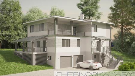 Проект стильного просторного трехэтажного коттеджа с гаражом