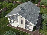 Архитектурный проект коттеджа с крытой террасой, площадью 240 m²