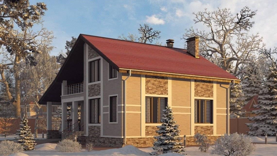 Архитектурный проект коттеджа с зимним садом и гаражом