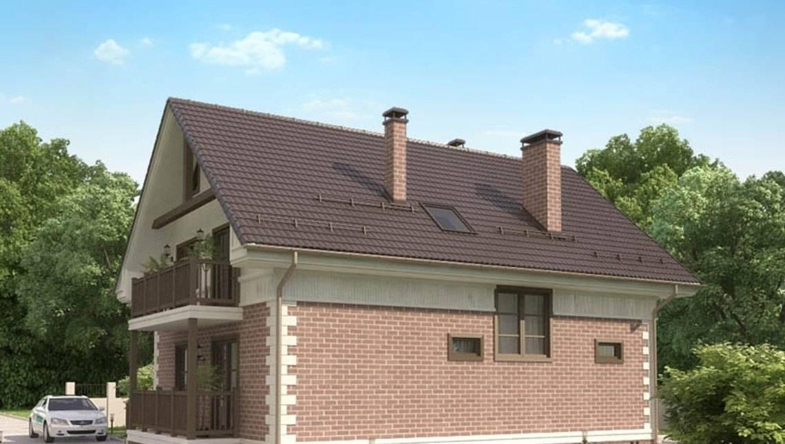 Проект коттеджа с кирпичным фасадом и 2 балконами