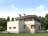Проект жилого коттеджа с террасой и удобным гаражом для 1 авто