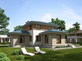 Проект загородного коттеджа 220 m² с террасой