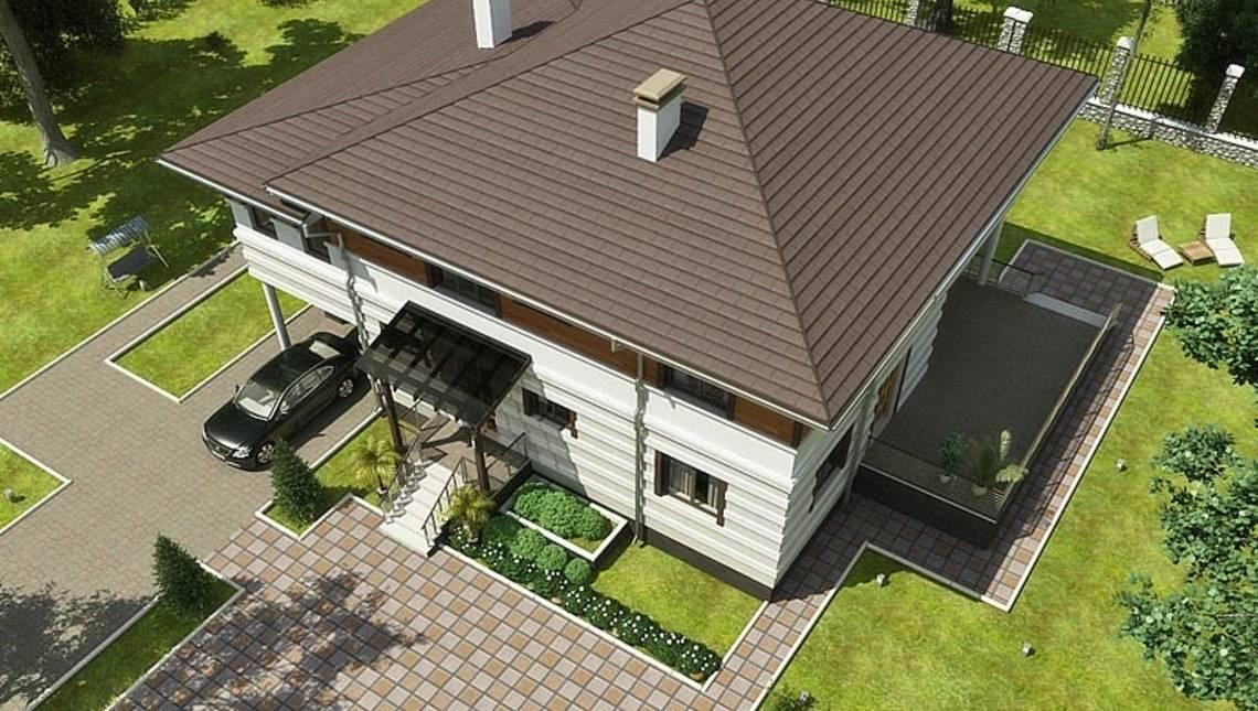 Проект жилого загородного роскошного коттеджа с террасой